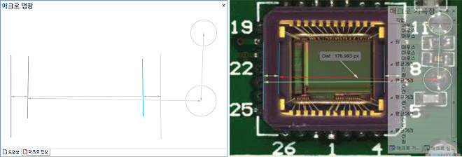 기본 측정 개체와 조합 개체의 관계도 및 형상 공차등을 하나의 단축 매크로로 지정하여 반복 측정 작업에 도움을 줍니다. MeX는 매크로 작동 순서에 대한 매크로 맵을 지원하여 저장한 매크로의 측정 순서를 쉽게 알 수 있도록 합니다. 또한, MeX는 매크로 등록시 단계별 판정 데이터를 기록하여 매크로 재 사용시 특정 샘플에 대한 구간별 치수 판정을 차등 적용할 수 있습니다.