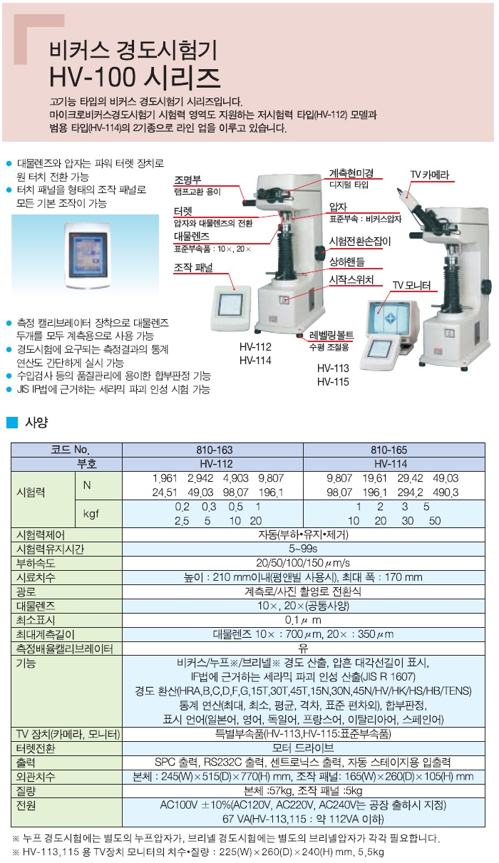 비커스 경도시험기, HV-100 시리즈, 고기능 타입의 비커스 경도시험기 시리즈입니다. 마이크로비커스 경도시험기 시험력 영역도 지원하는 저시험력 타입(HV-112)모델과 범용 타입(HV-114)의 2기종으로 라인 업을 이루고 있습니다. 대물렌즈와 압자는 파워 터렛 장치로 원 터치 전환 가능, 터치 패널을 형태의 조작 패널로 모든 기본 조작이 가능, 측정 캘리브레이터 장착으로 대물렌즈 두개를 모두 계측용으로 사용 가능, 경도시험에 요구되는 측정결과의 통계 연산도 간단하게 실시 가능, 수입검사 등의 품질관리에 용이한 합부판정 가능, JIS IP법에 근거하는 세라믹 파괴 인성 시험 가능, HV-112, HV-114, HV-113, HV-115, 누프 경도시험에는 별도의 누프압자가, 브리넬 경도시험에는 별도의 브리넬 압자가 각각 필요합니다.