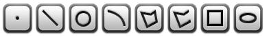 기본 측정 개체 : 점, 선, 원, 호 , 다각형, 다각선, 사각형, 타원