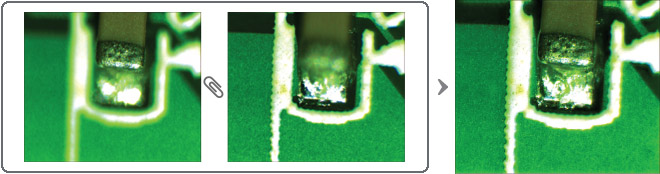 고배율 렌즈의 포커스 심도차이로 인해 피사체의 온전한 형태를 볼 수 없을 때 형상 전체의 초점을 합성하여 하나의 온전한 형태의 이미지로 생성합니다.